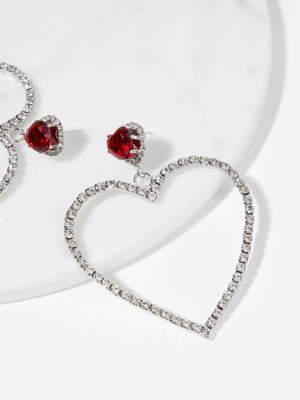 VF Open Heart Shaped Rhinestone Drop Earrings - Vogue Forest