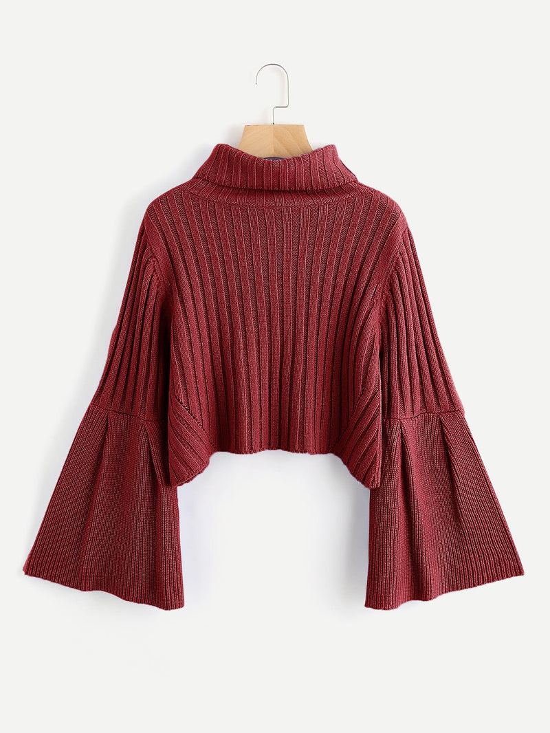 VF Rib Knit Fluted Sleeve Jumper - Vogue Forest
