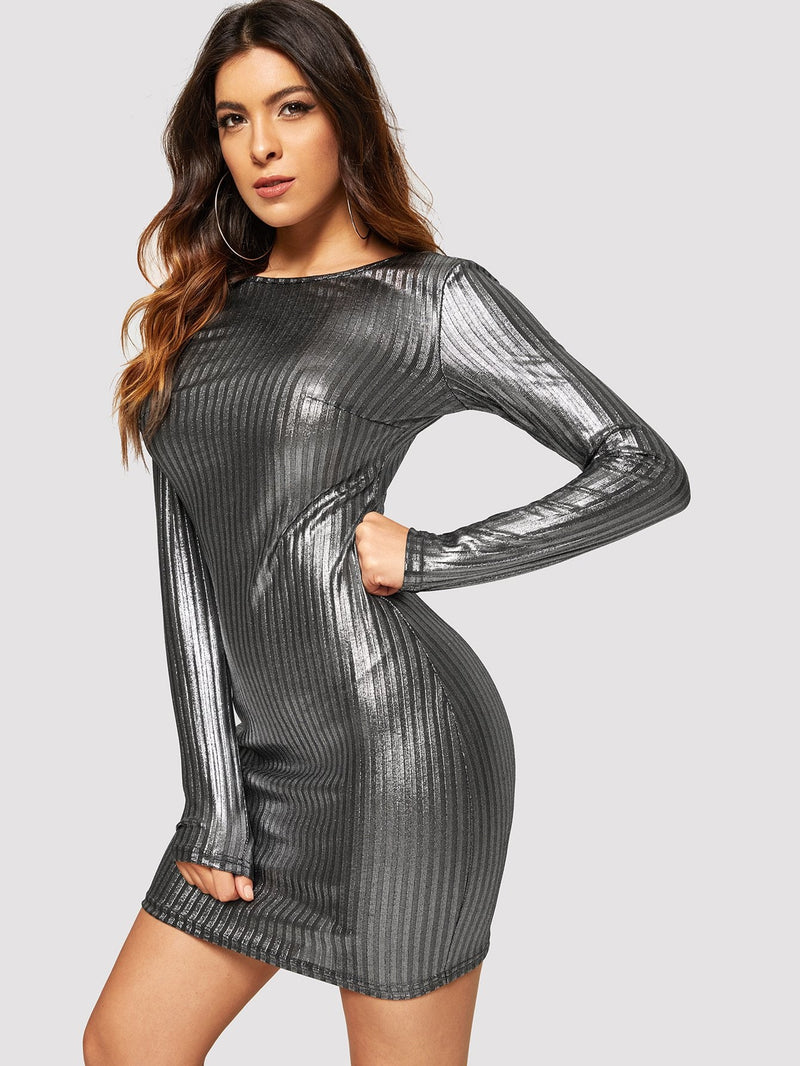 VF Ribbed Metallic Skinny Dress