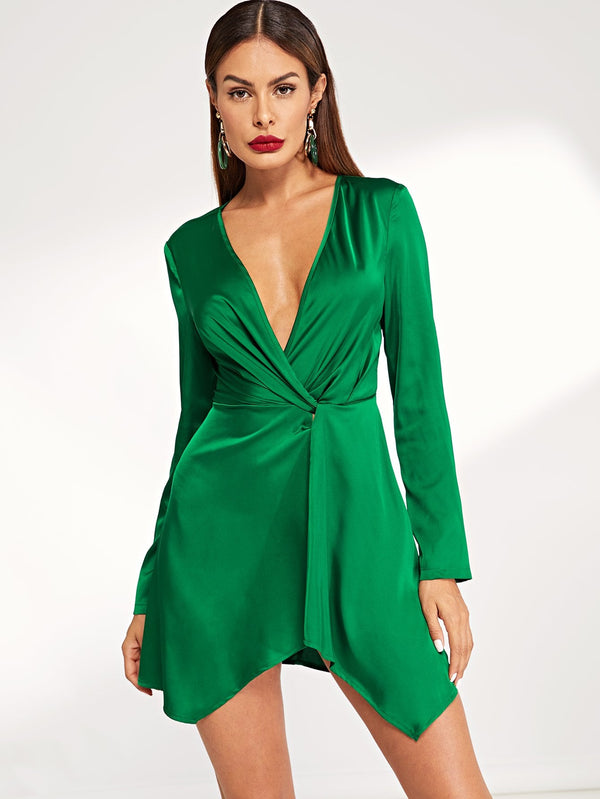 VF Plunging Neck Twist Front Dress - Vogue Forest
