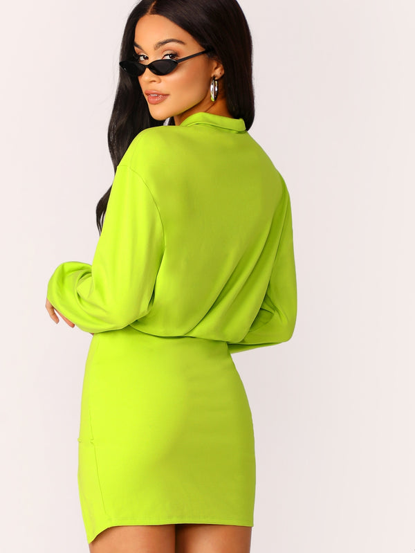 VF Neon Yellow Zip Front Top and Split Skirt Set - Vogue Forest