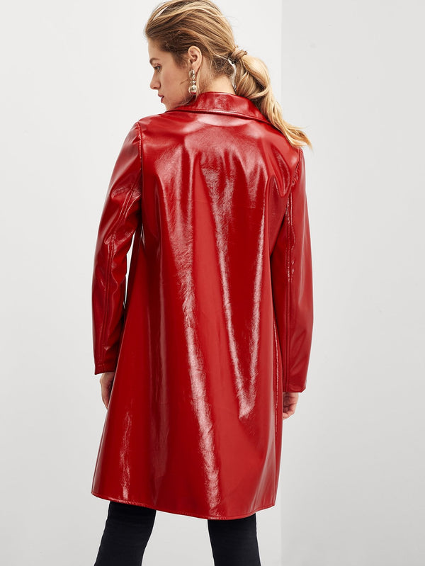 VF Faux Leather Longline Coat - Vogue Forest