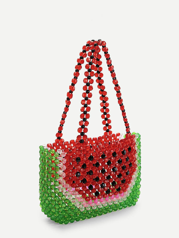VF Color-block Crystal Beaded Tote Bag - Vogue Forest