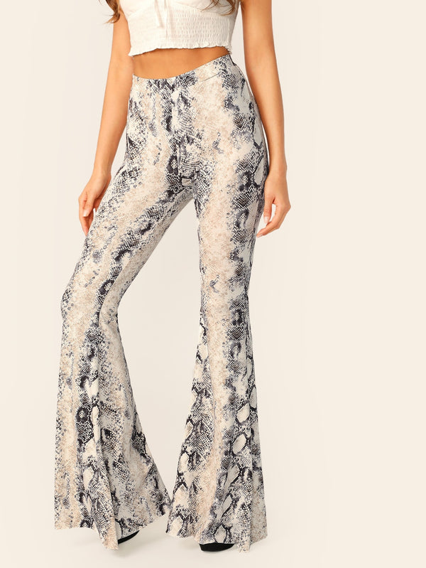 VF Elastic Waist Jersey Knit Python Flared Pants - Vogue Forest