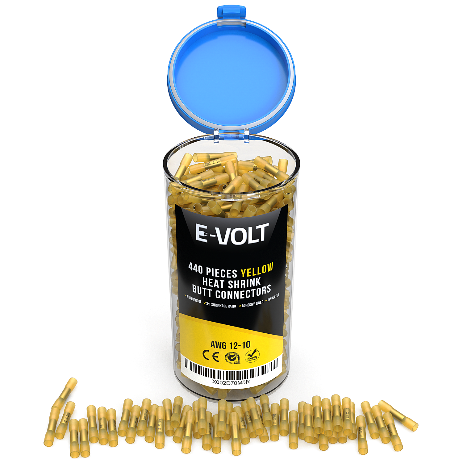 440 PC 12-10 Gauge Yellow Heat Shrink Butt Crimp Connectors