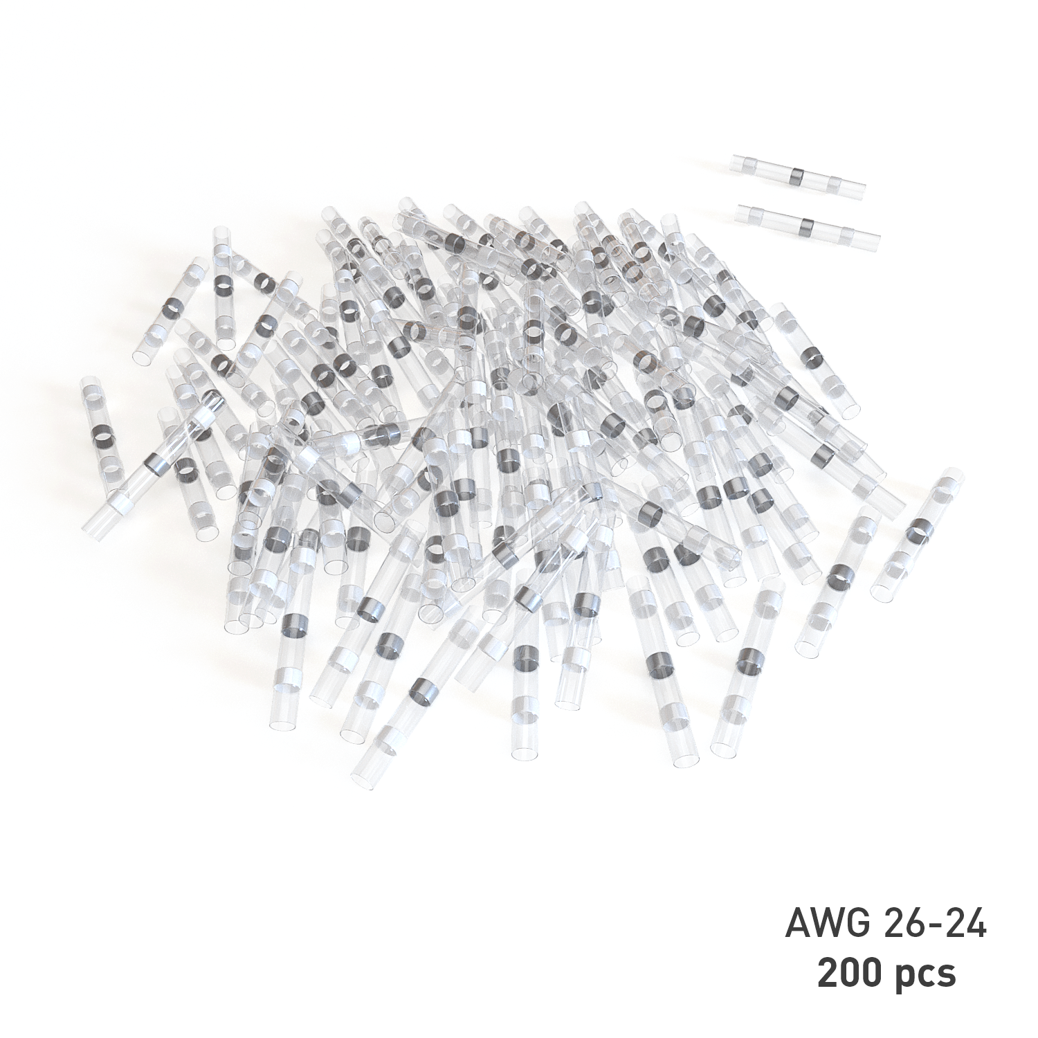 200 PC 26-24 Gauge White Solder Seal Heat Shrink Butt Connectors