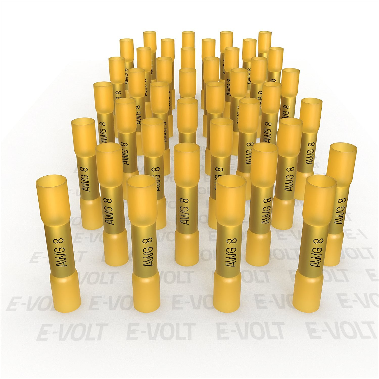 40 PC 8 Gauge Yellow Heat Shrink Butt Crimp Connectors