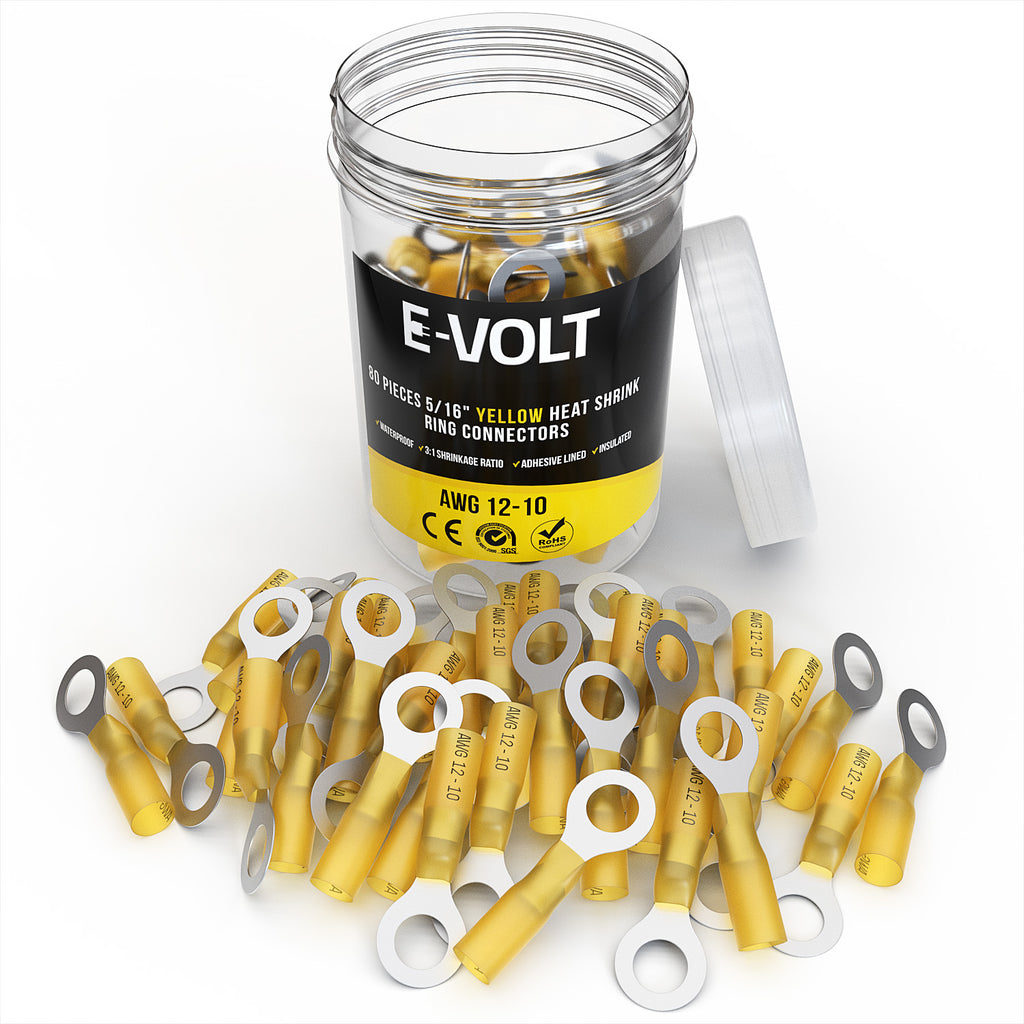 "80 PC 5/16"" Yellow 12-10 Gauge Heat Shrink Ring Crimp Connectors"