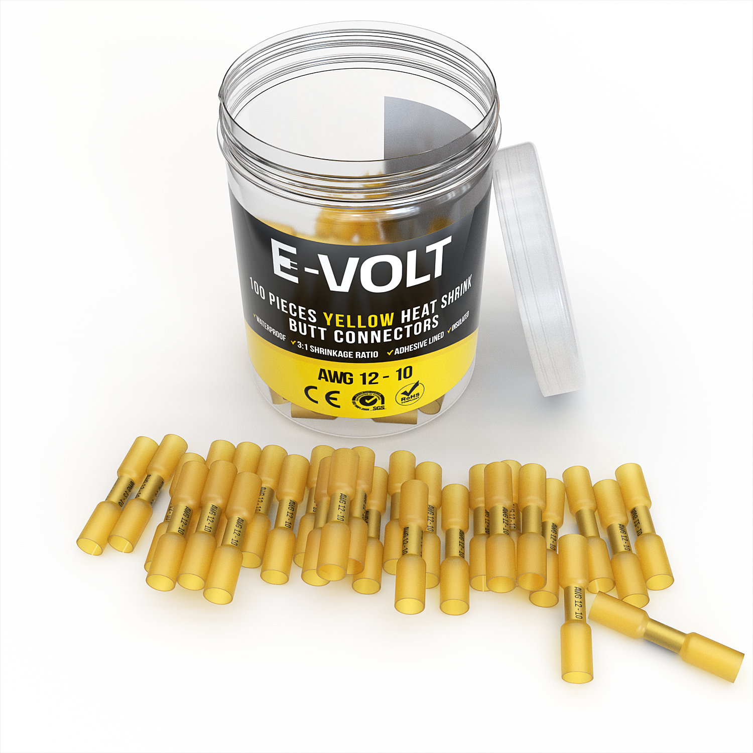 100 PC 12-10 Gauge Yellow Heat Shrink Butt Crimp Connectors