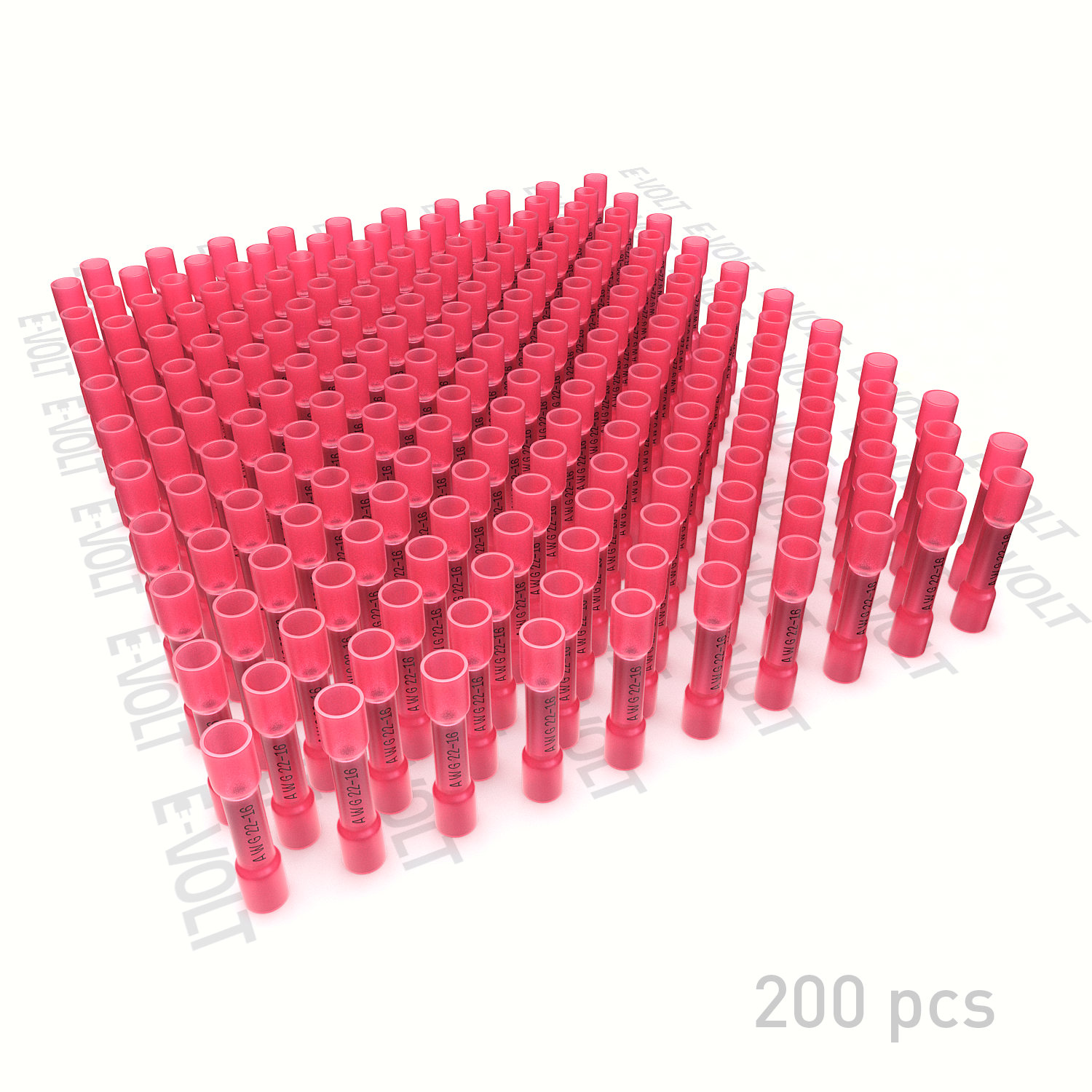200 PC 22-16 Gauge Red Heat Shrink Butt Crimp Connectors