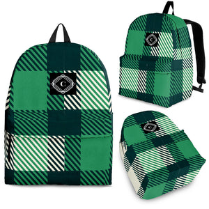 "Youth 16"" Green Plaid CS Backpack"