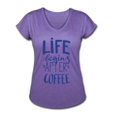 Life Begins After Coffee - purple heather