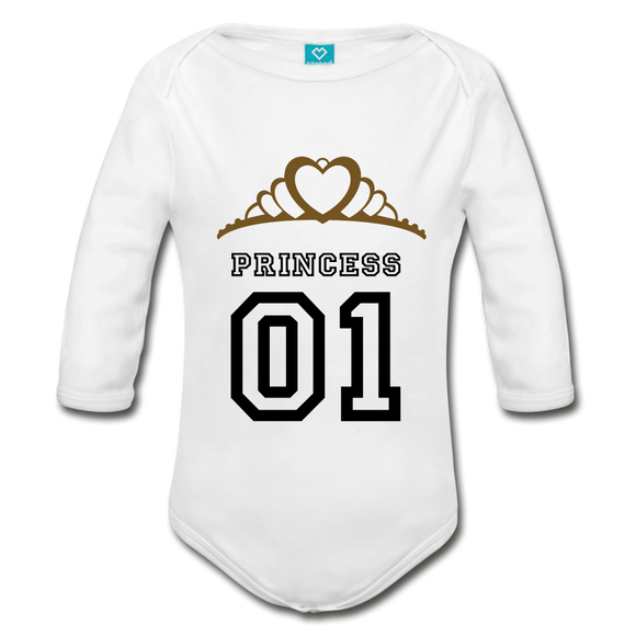 L/S Princess Baby BodySuit - white