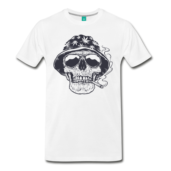 Smoking Skull - white