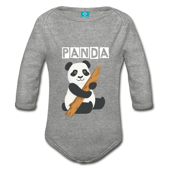 Panda L/S Baby Bodysuit - heather gray