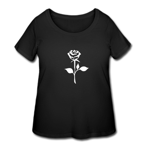 Women's oversized rose tee - black
