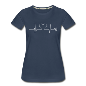 Women's ECG Heart Tee - navy