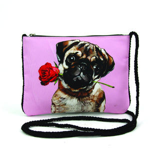 Pug with a Rose Crossbody Pouch in Polyester