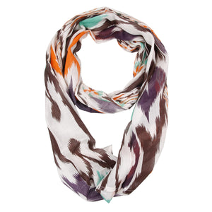 Lightweight Orange, Brown, Purple, and Teal Dual Patterned Infinity Scarf
