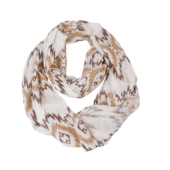 Lightweight Brown Aztec Patterned Infinity Scarf