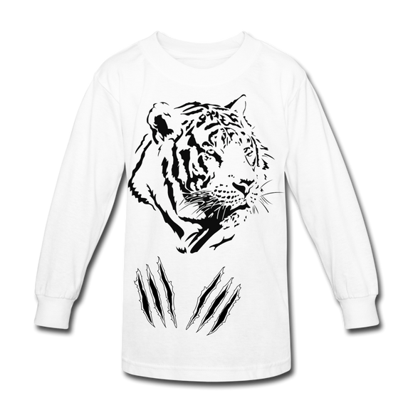 Kids' Long Sleeve Tiger Claw T - white