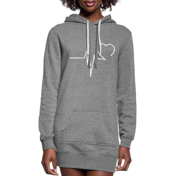 Women's Grey EKG  Hoodie Dress - heather gray