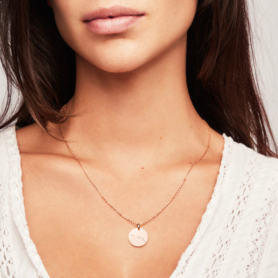 Aries Zodiac Constellation Necklace Gold Diamonds Zodiac Sign Star