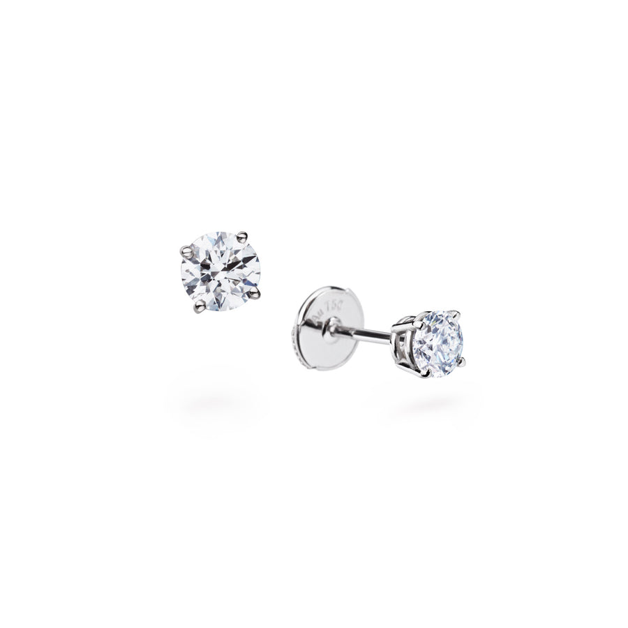 Diamond Stud Earrings 18 Karat Gold GIA Certified 0.5 carat, 1 carat DIAMANT - L'Escalet Jewellery