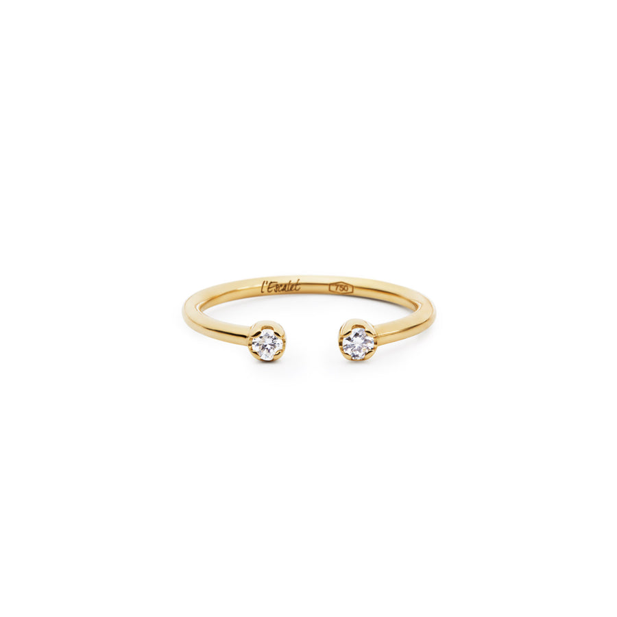 Delicate 2 Diamonds Open Ring in 18k Yellow, Rose or White Gold.