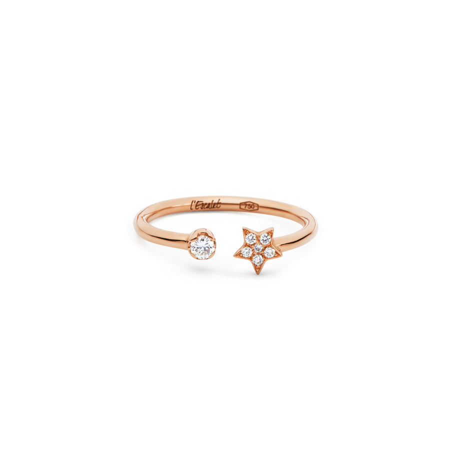 Gold Diamond Star Pavé Open Ring PETITE ETOILE - L'Escalet Jewellery