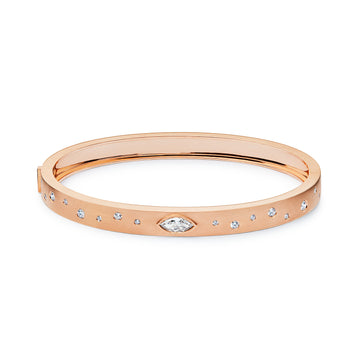 Gold Diamond Bangle Bracelet with Scattered Diamonds Rose Gold