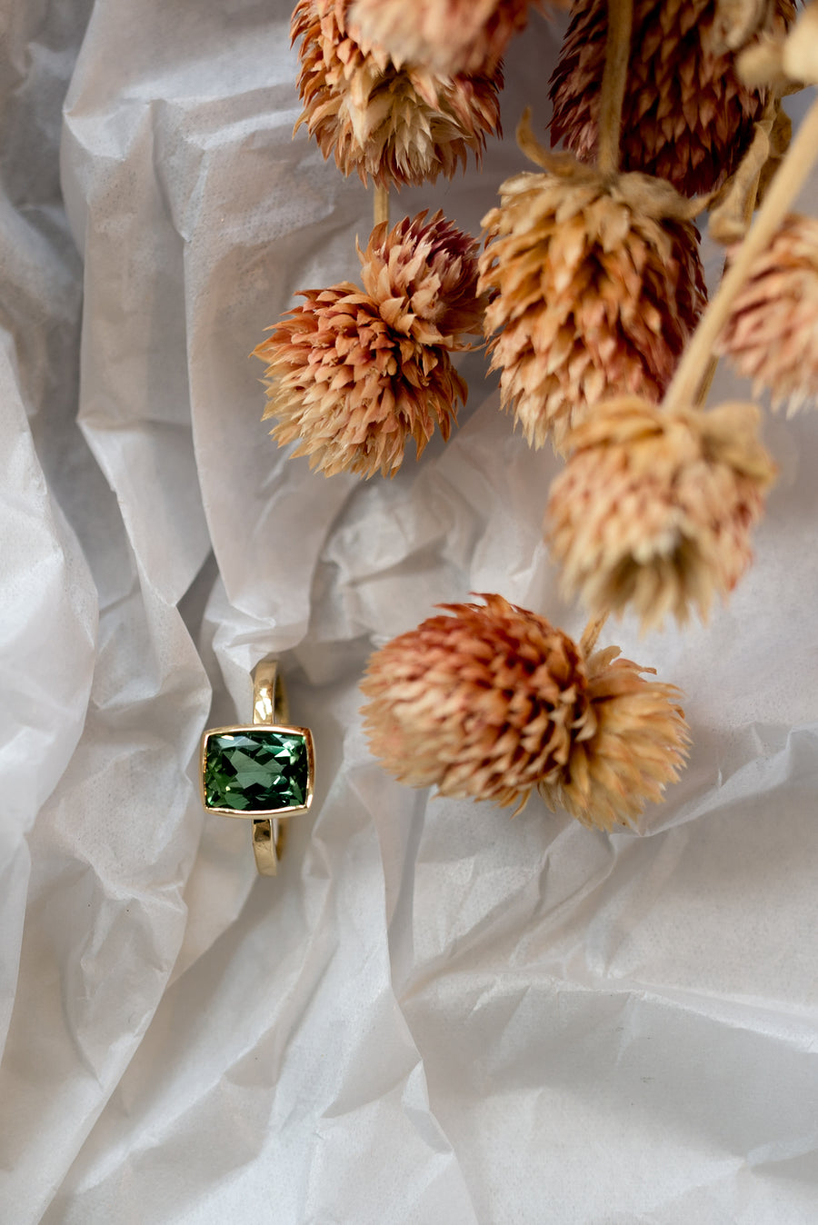 Green Blue Tourmaline Ring Yellow Gold