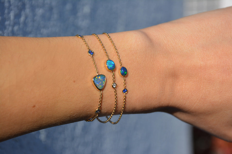 Black Opal and Diamond Bracelet