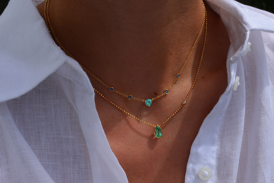 Paraiba Tourmaline and Sapphires Necklace