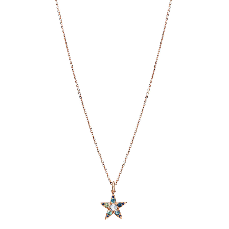 Star Rose Cut Diamond and Blue Sapphire Necklace - Handmade - L'Escalet Jewellery