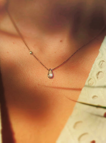 Pear shape champagne diamond necklace