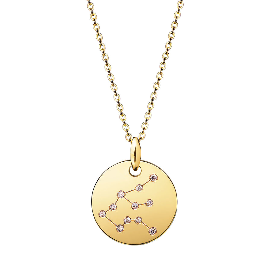 Aquarius Constellation Necklace Gold Diamonds Zodiac Sign Star