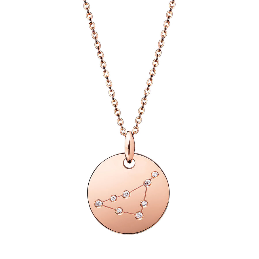 Capricorn Rose Gold Diamond Zodiac Sign Star Constellation Necklace