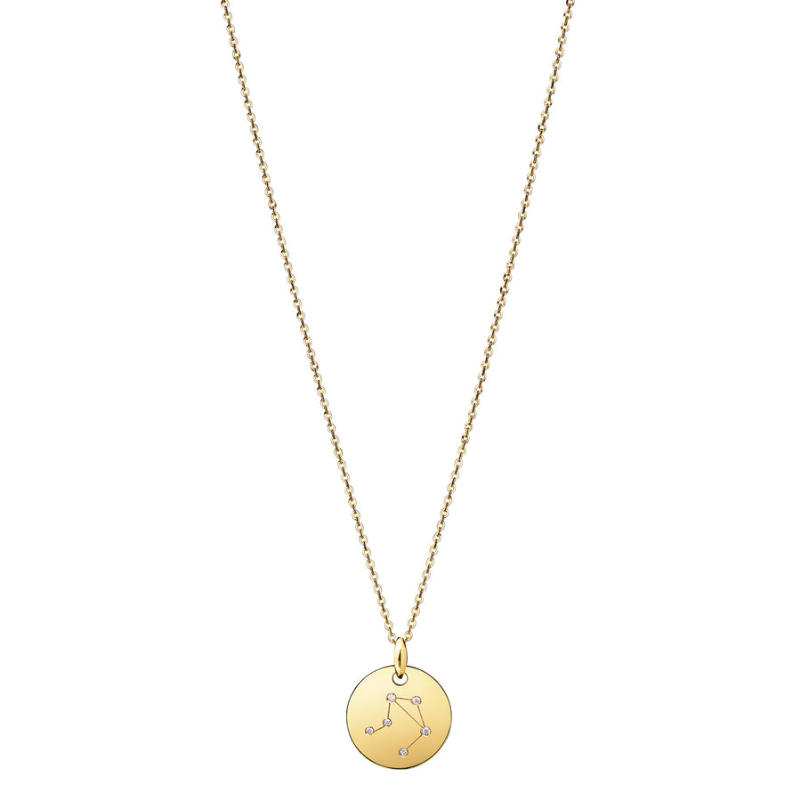 LIBRA Zodiac Sign Diamond Constellation Necklace: Astrology Star Sign 18K Gold or Silver Pendant