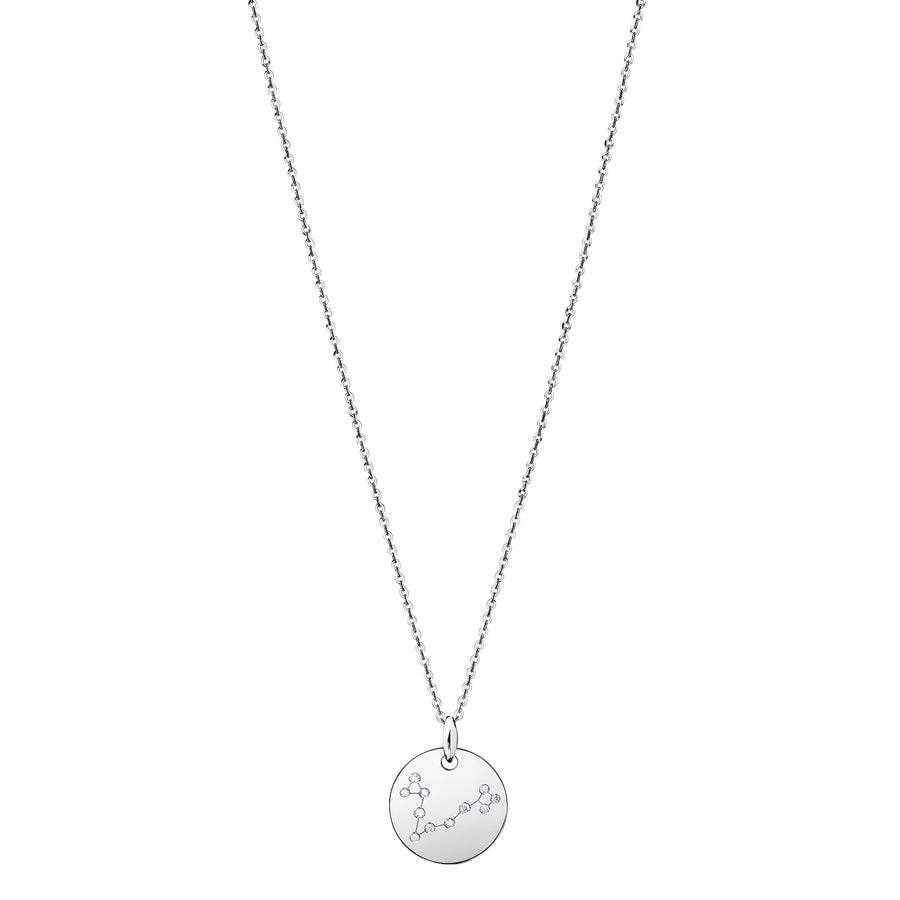 Pisces Constellation Necklace Diamond White Gold Zodiac Sign Star