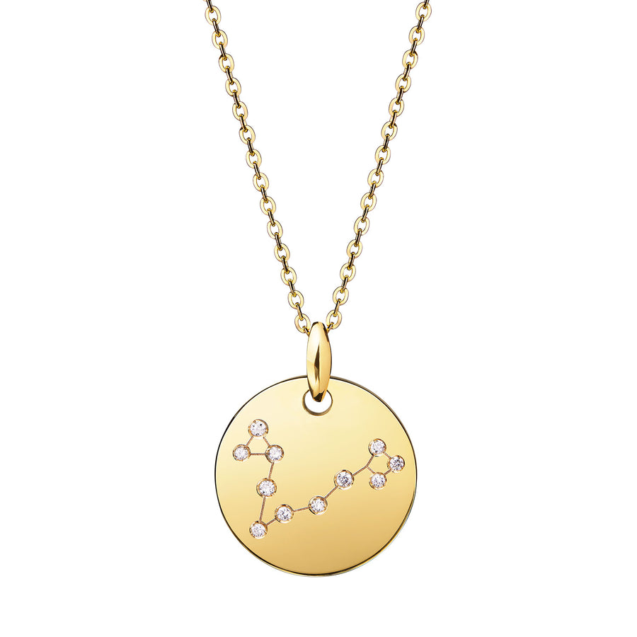 Pisces Constellation Necklace Diamond Yellow Gold Zodiac Sign Star