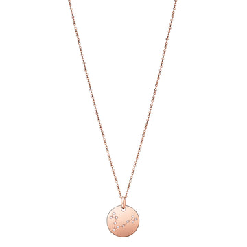Pisces Constellation Necklace Diamond Rose Gold Zodiac Sign Star