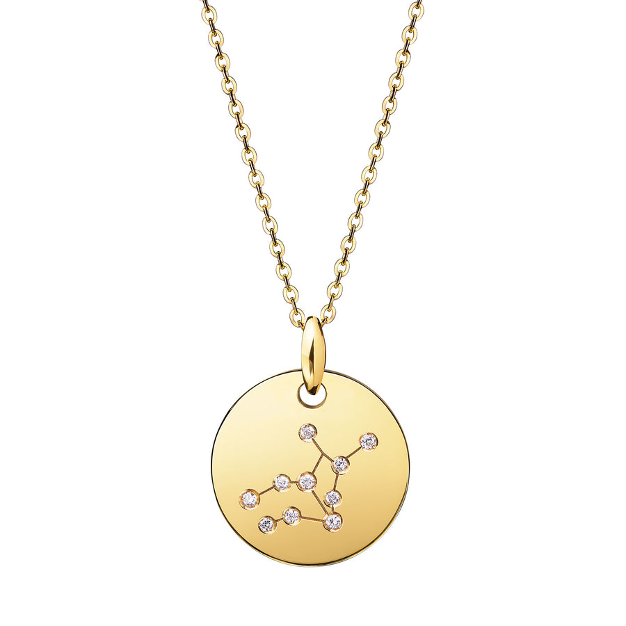 Virgo Constellation Necklace Diamond Yellow Gold Zodiac Sign Star