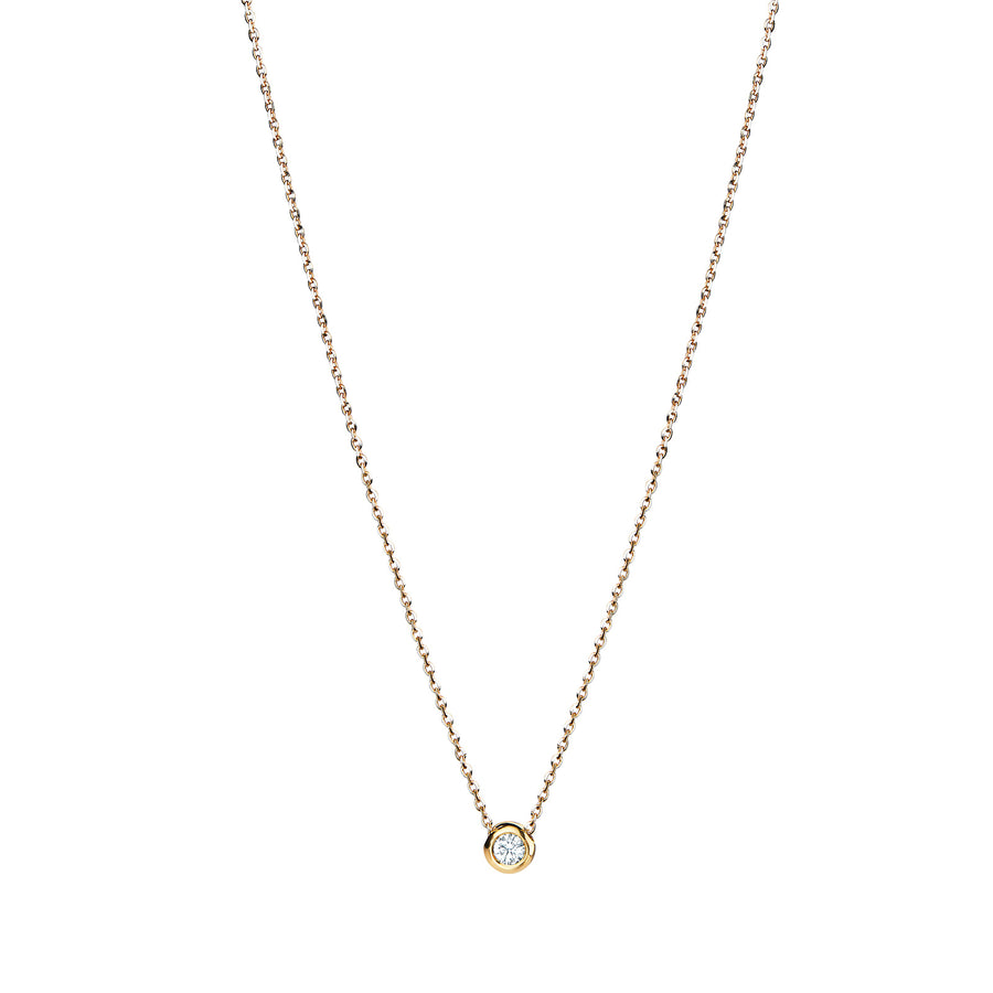 Diamond Solitaire Chain Necklace 18k Gold 0.1 carat Jewellery Essential - L'Escalet Jewellery