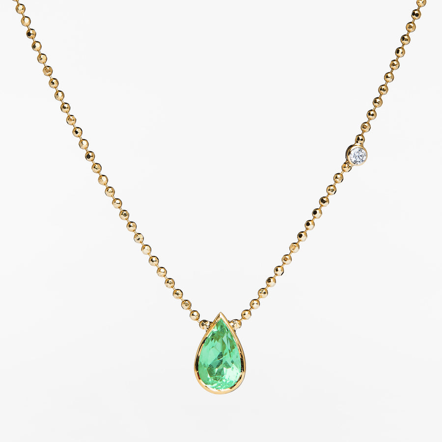 One of a kind Emerald Necklace with Diamond