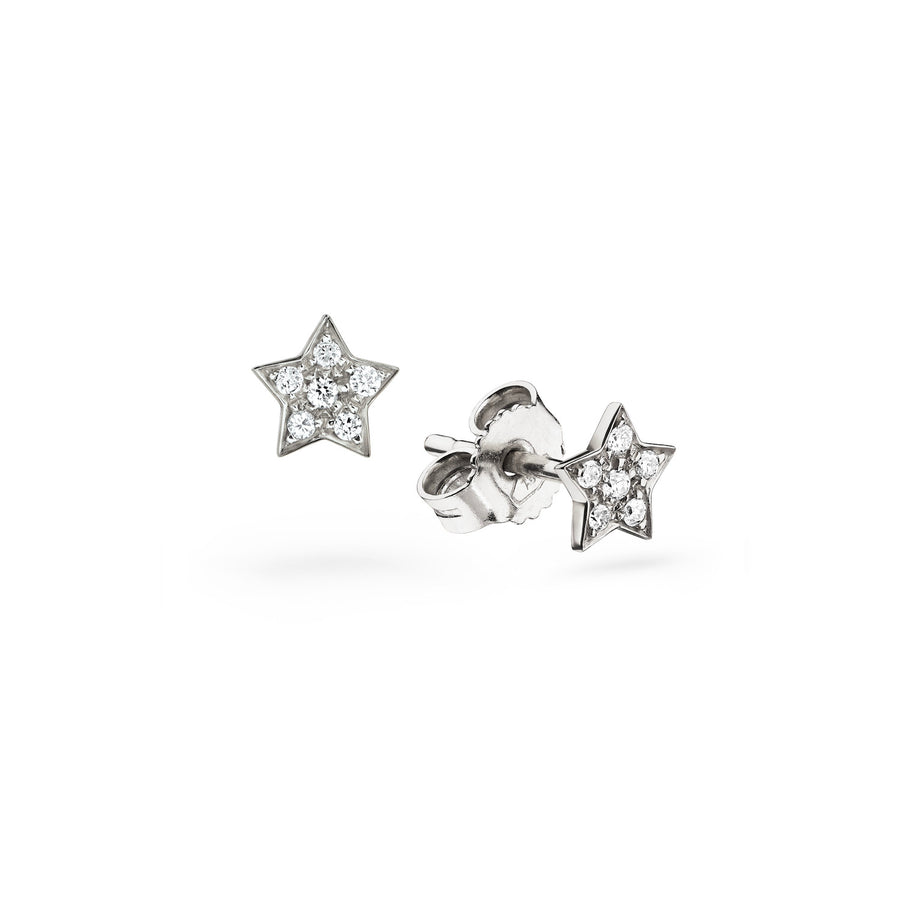 Star Pavé Diamond Stud Earrings Gold 18k - Handmade in Italy - L'Escalet Jewellery