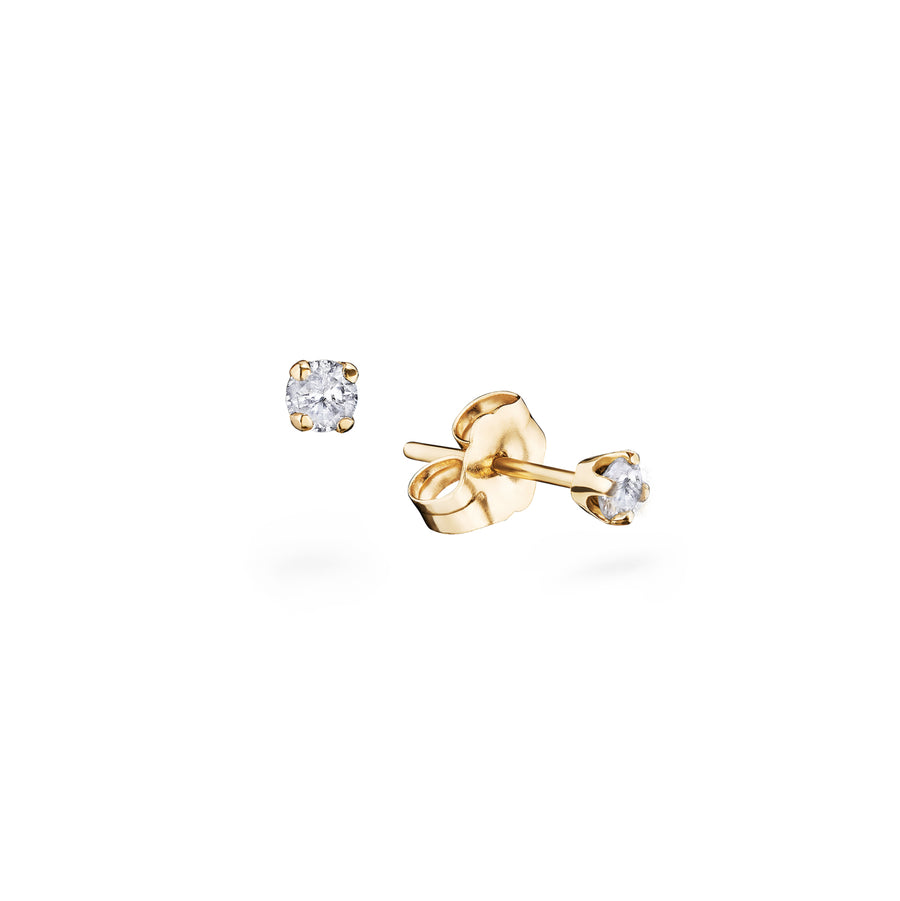 Tiny Gold Diamond Stud Earrings 0.1 carat - Delicate, sparkly jewellery essentials - Handmade in Italy - L'Escalet Jewellery