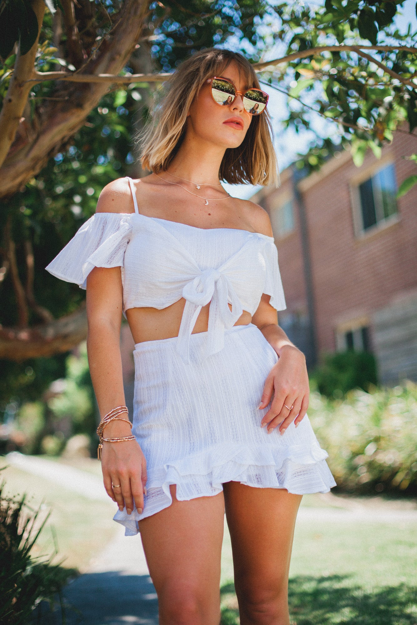 Innocence Ruffle Mini Skirt - White