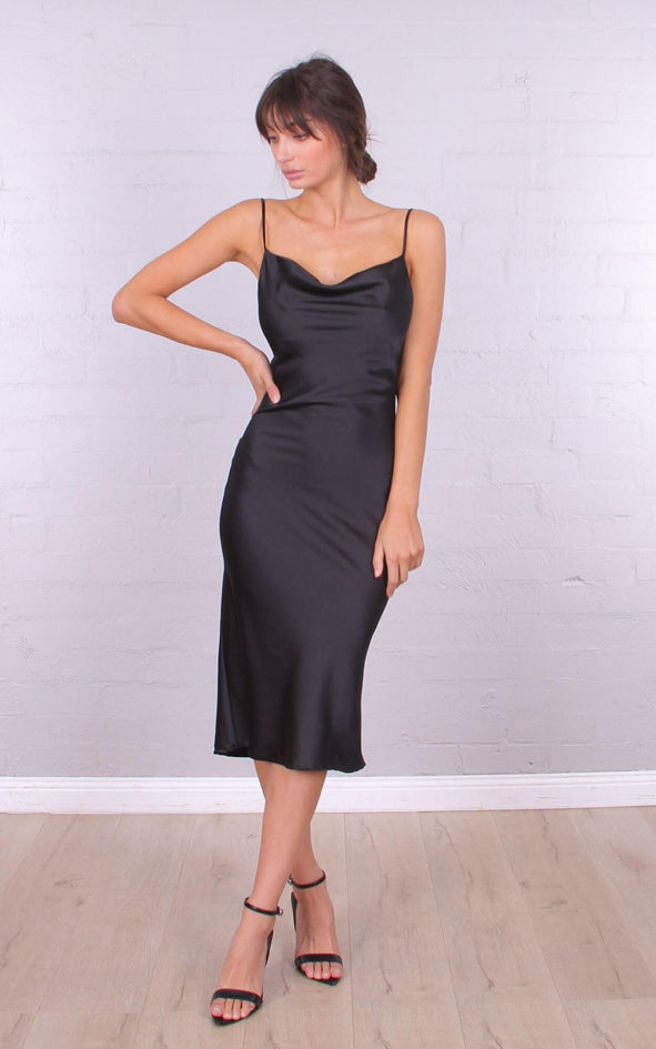 Arabella Cowl Neck Midi Dress - Black