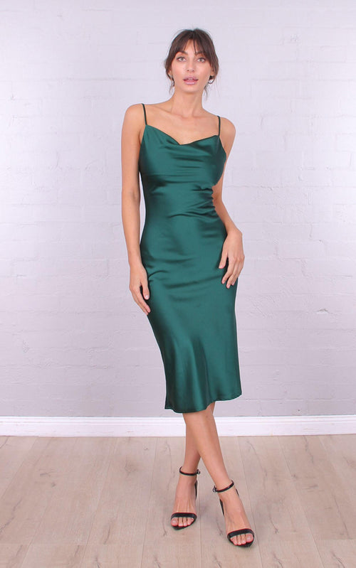 Arabella Cowl Neck Midi Dress - Emerald